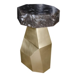 Brass Facet Table with Smoke Crystal Octagonal Top