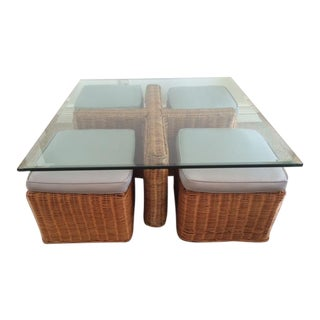Vintage McGuire Rattan Square Coffee Table & Stools - Set of 5