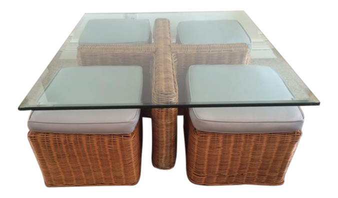 Vintage McGuire Rattan Square Coffee Table U0026 Stools   Set ...