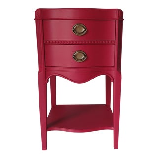 Vintage Mahogany Raspberry Red Nightstand