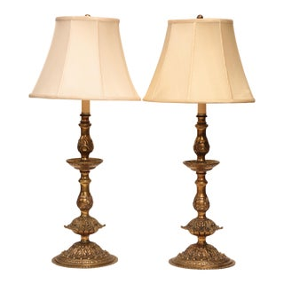 French Doré Bronze Candlestick Lamps - A Pair