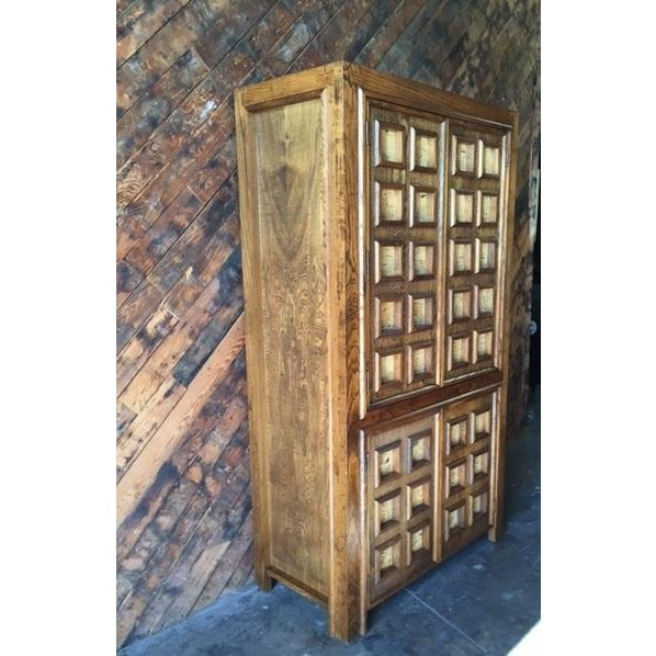 Vintage Wood and Cork Brutalist Armoire - Image 7 of 9