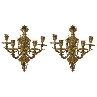 Five-Light Brass Candelabra Sconces - A Pair