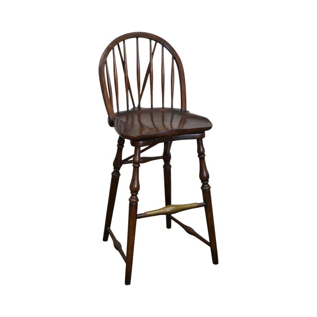 Jonathan Charles Windsor Style Swivel Bar Stool - Image 1 of 10
