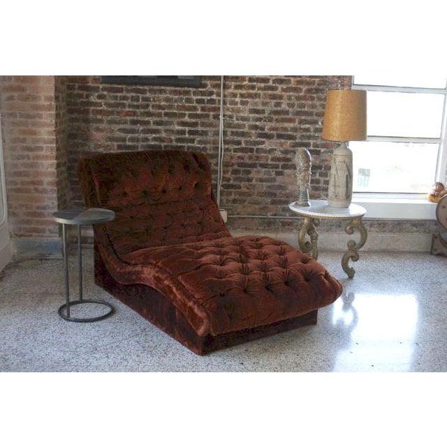 Mid-Century Custom Tufted Brown Velvet Chaise - Image 3 of 8