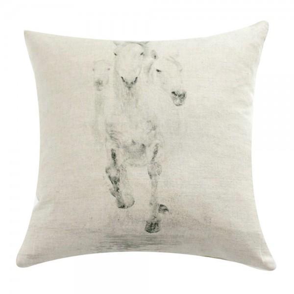 Horse Trio Print Linen Pillow - Image 1 of 2