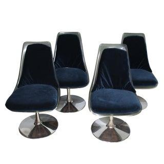 Chromcraft Navy & Smoked Lucite Chairs - Set of 4
