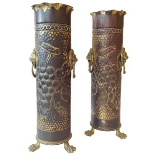 Vintage Tramp Art Vases - A Pair