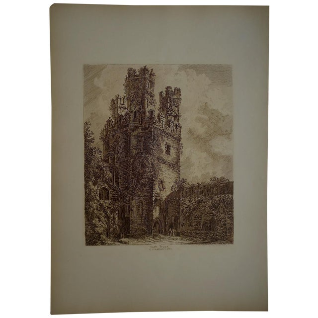 Sepia British Architectural Etching - Image 1 of 3