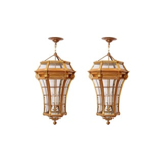 A LARGE PAIR OF LOUIS XIV STYLE GILDED BRONZE LANTERNS