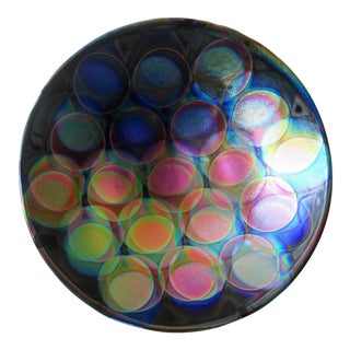 Handmade Dichroic Glass Bowl With 3-Dimensional Hologram Balloon Design