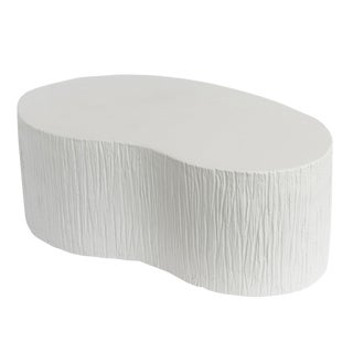 Faux Plaster Textured Kidney Shaped Coffee Table