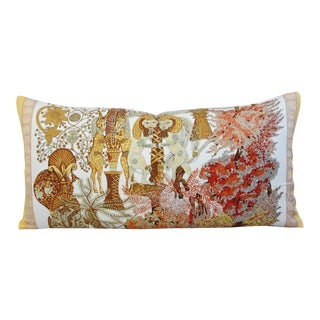 Designer Hermes Annie Faivre Silk Lumbar Pillow