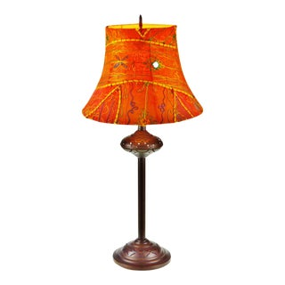 Vintage Reticulated Metal Table Lamp with Boho Chic Lamp Shade