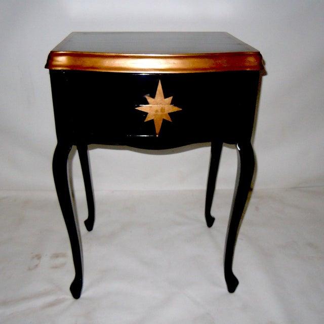 Image of 30s Mid Century Ebony Side Table