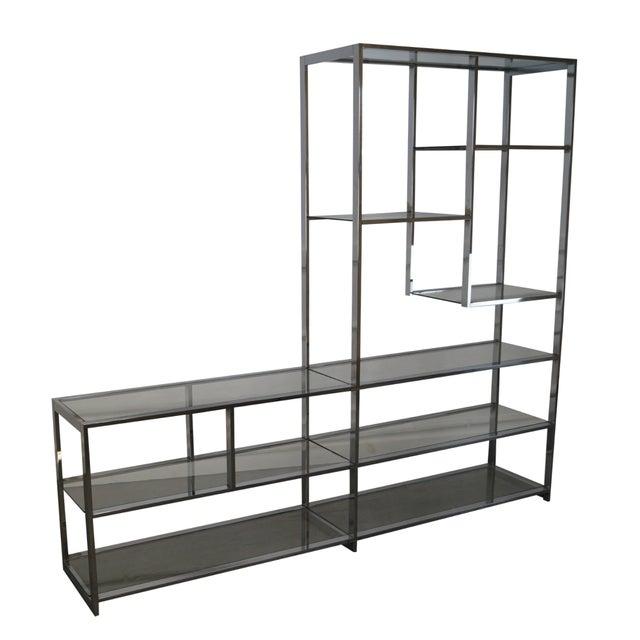 mid century modern chrome glass tag re chairish. Black Bedroom Furniture Sets. Home Design Ideas