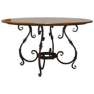 Italian Oak & Scrolled Iron Round Dining Table