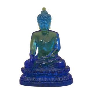 Crystal Glass Liuli Pate-de-verre Blue Color Buddha Sakyamuni Statue