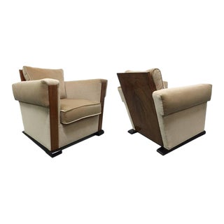 Pair of French Art Deco Lounge Chairs in Mohair