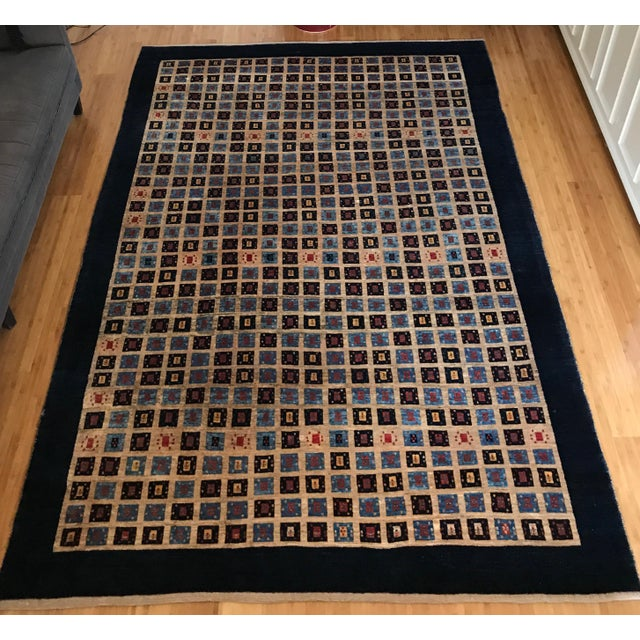 Persian Handknotted Blue Gabbeh Rug - 6′8″ × 9′2″ - Image 2 of 3