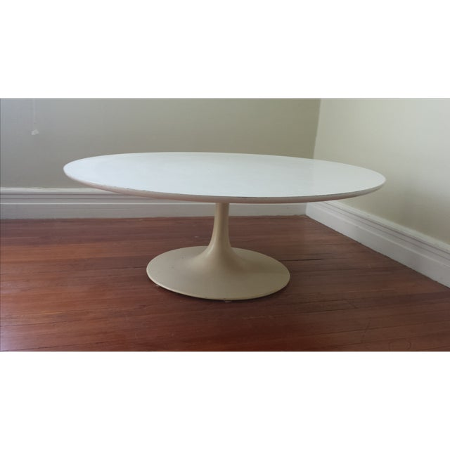 "Reproduction Saarinen ""Tulip"" White Coffee Table - Image 3 of 3"