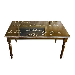 Farm Style Dining Table with Calligraphy Design
