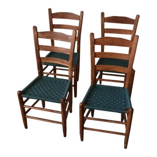 Scandinavian Style Woven Blue Wooden Chairs - Set of 4