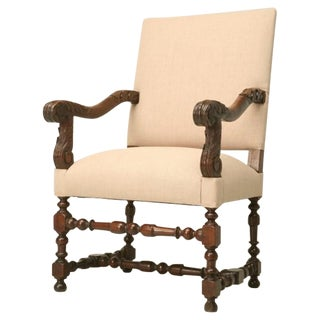 c.1820 French Louis XIII Style Throne Chair
