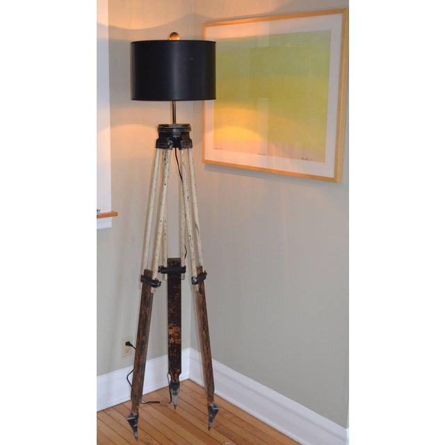 Black-And-White Surveyor's Tripod Floor Lamp - Image 3 of 7