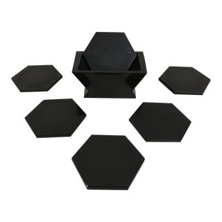Vintage Art Deco Hexagon Coasters - Set of 7