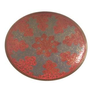 Vintage Moroccan Coral Orange & Grey Brass Enamel Pedestal Bowl
