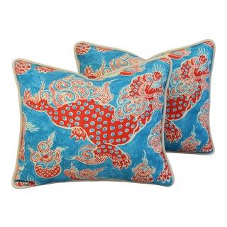 Custom Aqua/Red Chinoiserie Dragon Feather/Down Pillows - Pair