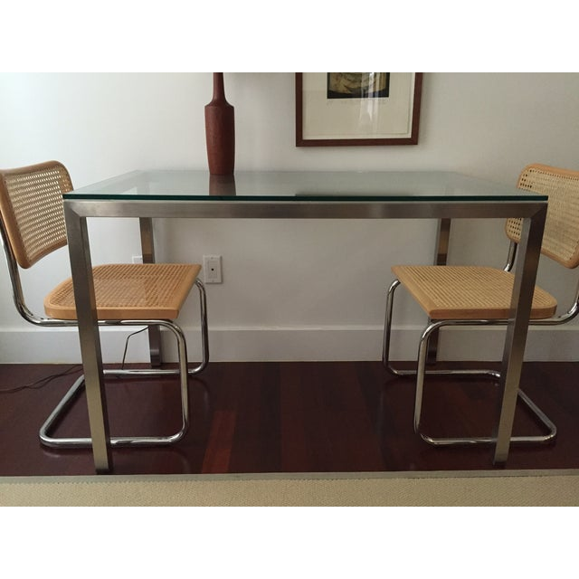 Room Amp Board Steel And Glass Custom Parsons Table Chairish