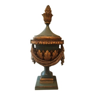 French Gilt Wood & Polychrome Flame Urn