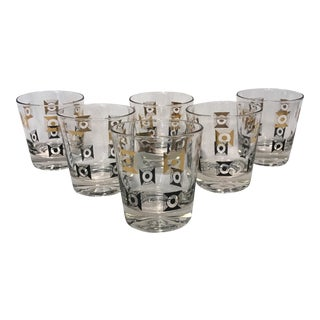 Mid-Century Black & Gold Lowball Glasses- Set of 6