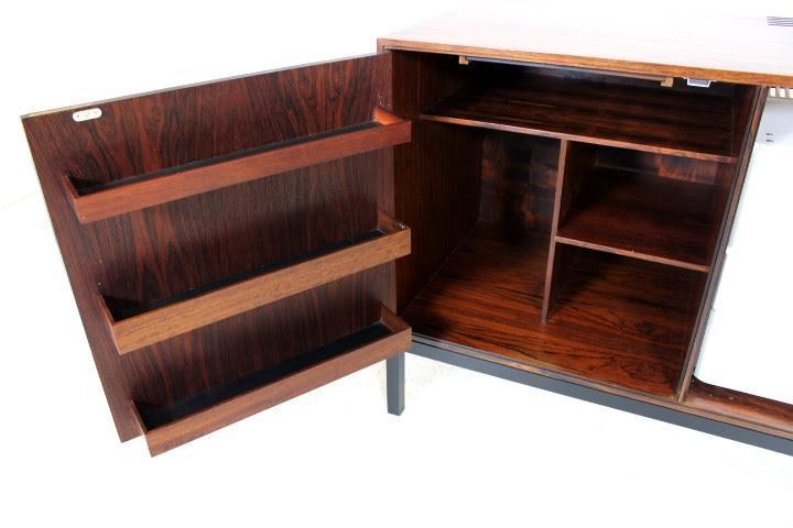 vintage danish mid century modern rosewood credenza cabinet image 5 of 8