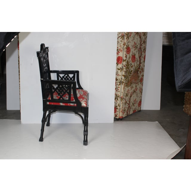 Image of Red & Black Chippendale Accent Chair