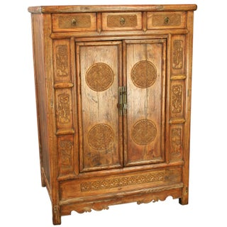 Qing Dynasty Cabinet with Peony & Lotus
