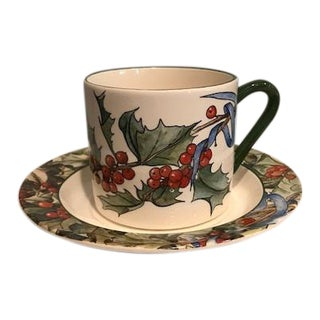 Le Houx by Gien France Flat Cup & Saucer - A Pair