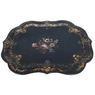 English Victorian Hand Painted Paper Mâché Tray