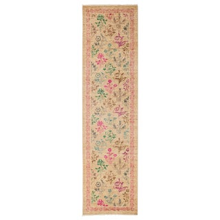 """Eclectic, Hand Knotted Beige Floral Motif Wool Runner Rug - 2' 6"""" X 9' 10"""""""