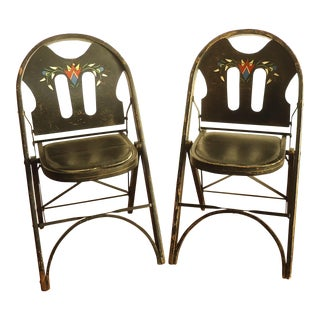 Art Deco Louis Rastetter Wood Folding Chairs - a Pair