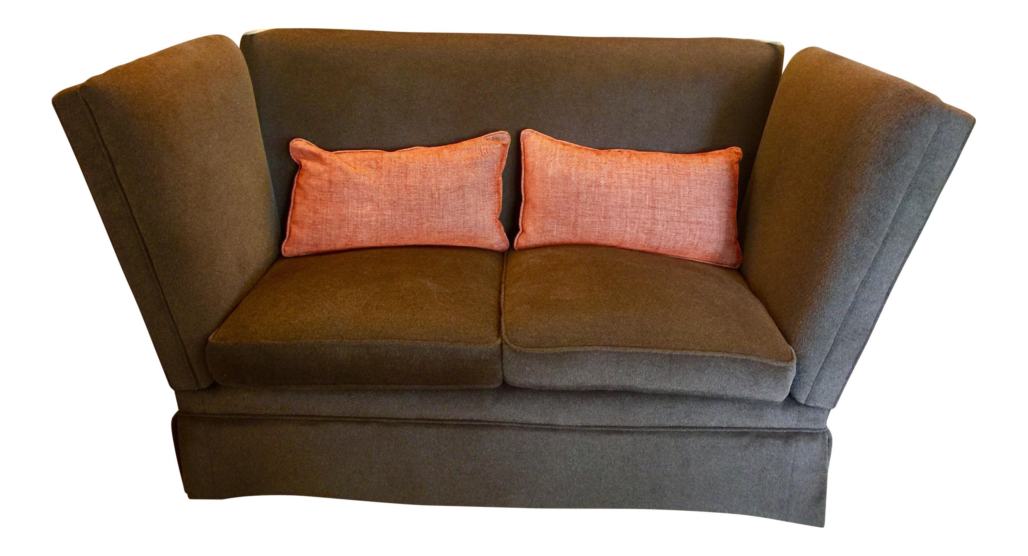 knole style brown mohair sofa