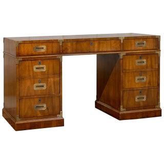 Mid-Century Campaign Style Partner's Desk