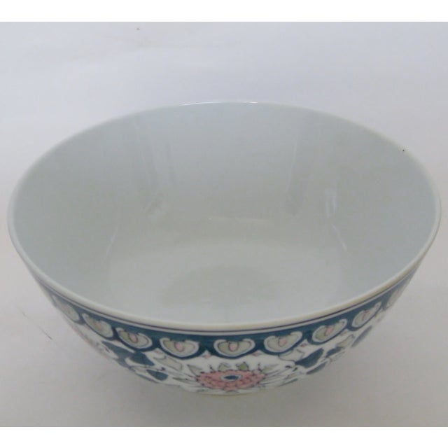 Image of Chinese Green & Pink Floral Porcelain Serving Bowl