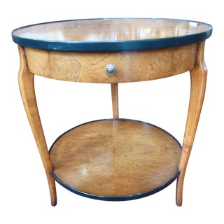 Italian Burl Veneer Round Side Table