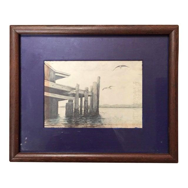 Small Framed Dock Scene - Image 1 of 3
