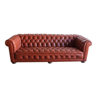 Mid-Century Rust Leather Chesterfield Sofa