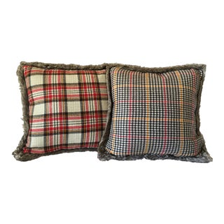 Reversible Soft Flannel & Faux Fur Pillows - A Pair