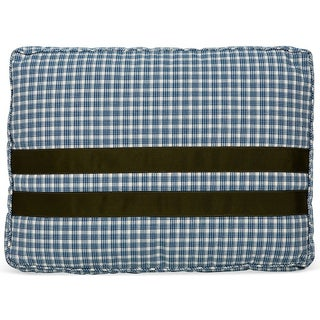 Blue Plaid Pillow With Green Ribbon